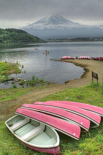 mt. fuji rising above kawaguchi-ko lake, japan.