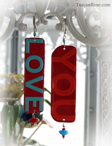 Love You - dangle Earrings neon bright tin