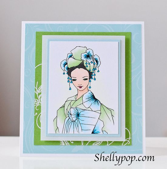 handmade card ... Asian theme ... lovely woman in kimono .. Green Lady - A Day For Daisies digi by popsicletoes3, via Flickr