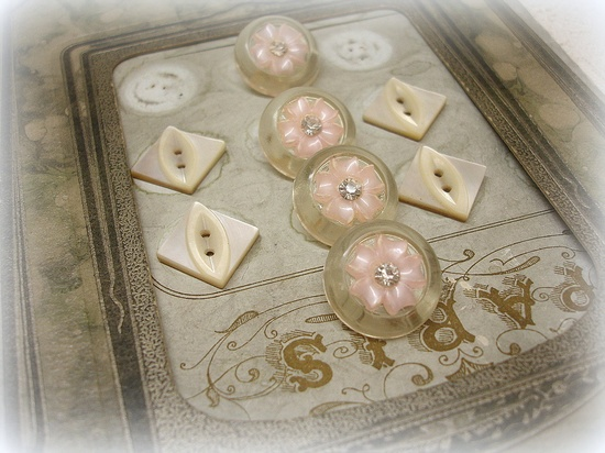 Sweet Pink and Cream vintage buttons