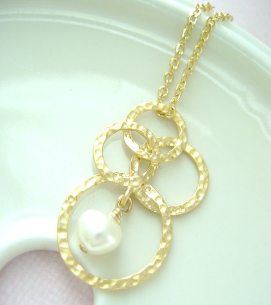 Hammered Bubble with freshwater pearl gold necklace