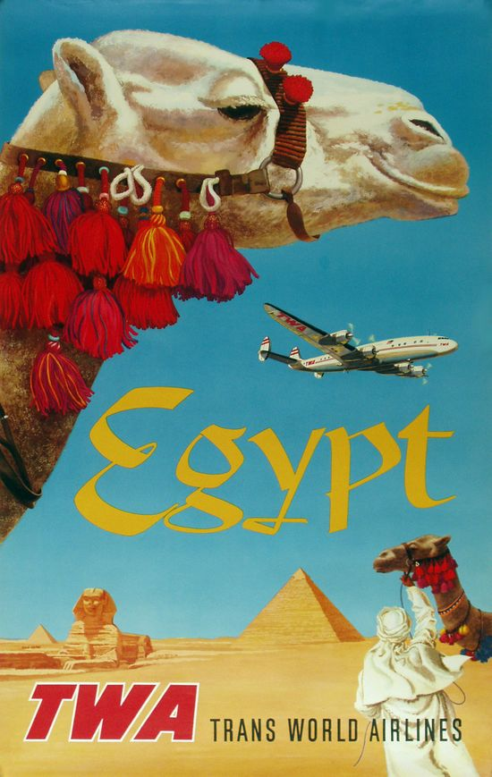Vintage TWA poster for Egypt by David Klein #airlineposters #twa #davidklein #advertising #transworldairlines #flytwa #travelposters #vintageposter #egypt #camel #pyramid #africa