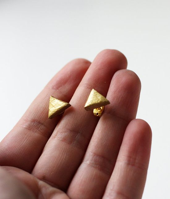 gold triangle earrings #ammjewelry #triangle #gold #etsy