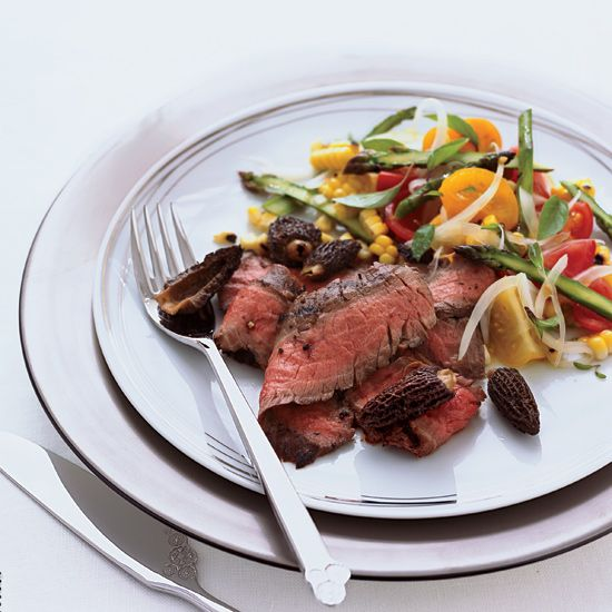 Grilled Flank Steak with Corn, Tomato & Asparagus Salad // More Grilling Recipes: www.foodandwine.c... #foodandwine