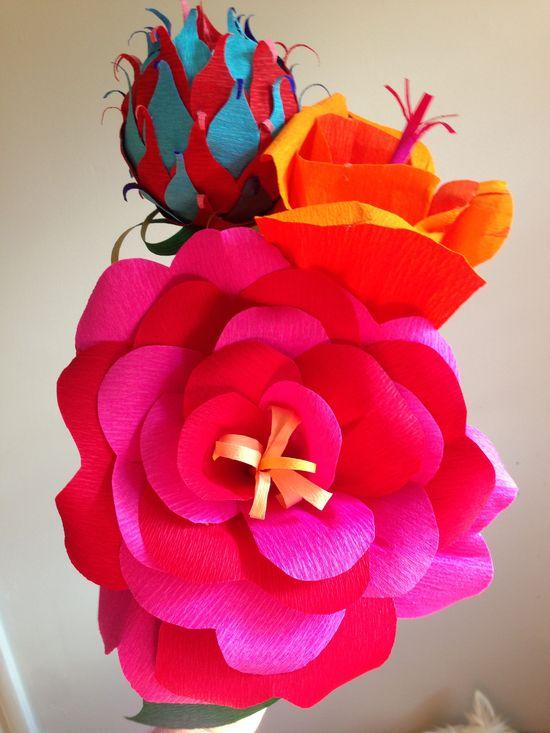 Handmade paper flower bridal bouquet by HappyHourFlower