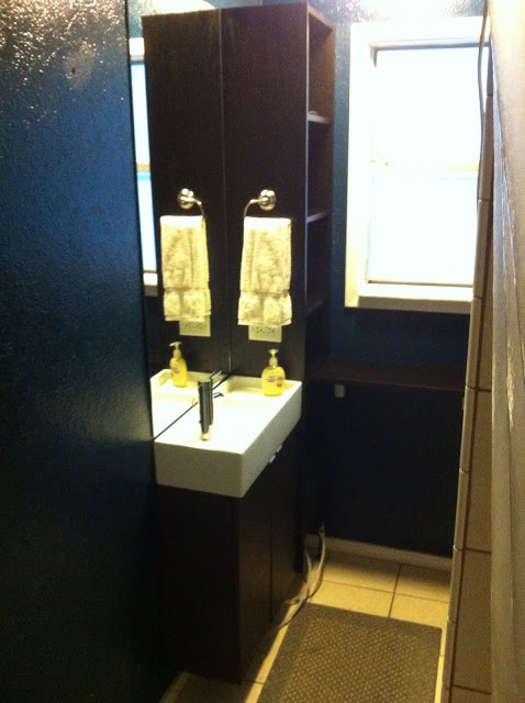 The sink I want for the bathroom - look how skinny it is! Would give us lots more room in our oh-so-tiny 1940's bathroom.