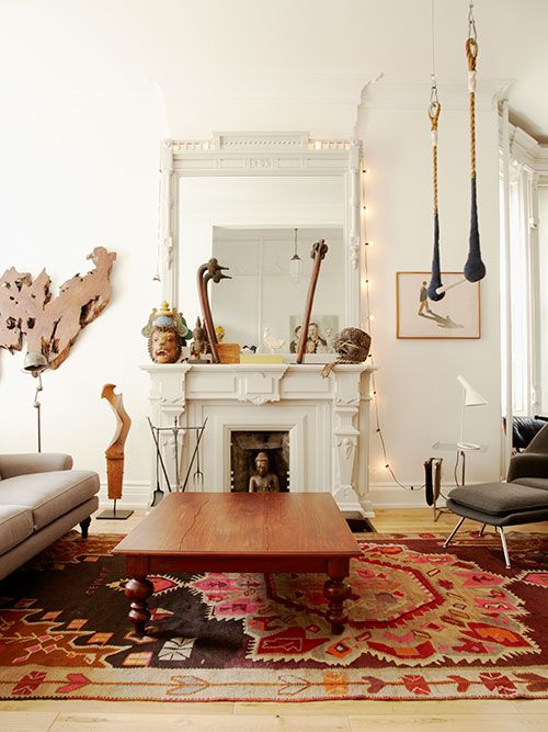 Rug and table combo!!  House visit with Sophie Demenge of Oeuf @Heather Creswell Creswell Tolle NYC