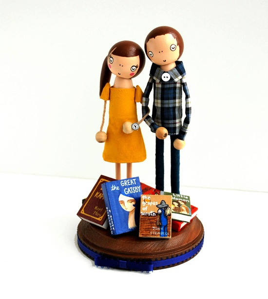 Custom Love in the Library Wedding Cake Topper. $170.00, via Etsy.