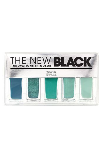 Perfect Turquoise, teal, mint, blues // THE NEW BLACK 'Wave - Ombré' Nail Polish 5-Piece Set