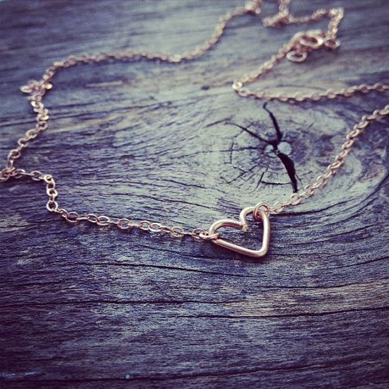 $25.90 -- Handmade Rose Gold Filled Tiny Sideways Heart