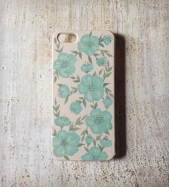 Mint floral iPhone 5 Case