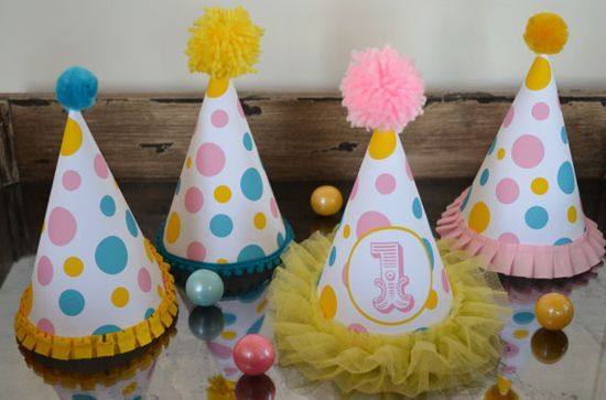 Circus Theme Party Hats, Set of 10