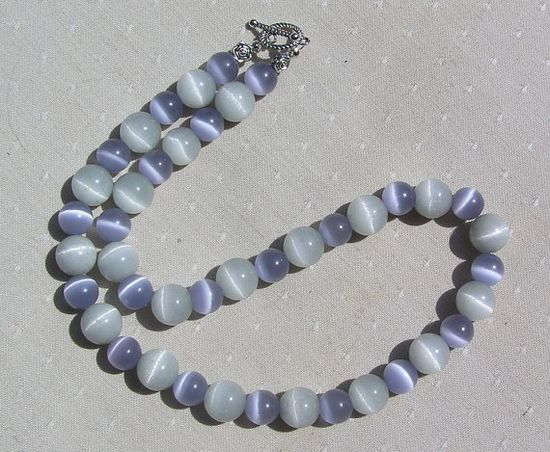 Lavender & Dove Grey Cat's Eye Gemstone Necklace  by SunnyCrystals, £15.25
