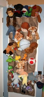 A cute way to organize your kids stuffed animals.