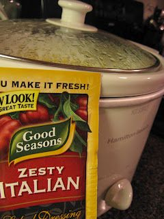 Crock Pot Chicken & Rice Recipe   ingredients:  2-4 frozen boneless skinless chicken breasts  1 pkg. (8 oz.) cream cheese (softened)  1 can cream of chicken soup  1 pkg. (dry) italian dressing seasoning     cooked rice to serve the chicken over    stir the cream cheese, cream of chicken, and seasoning together in the crockpot.  start it on low and let them sit for about 30 min so the cream cheese is softer to stir. put the frozen chicken in and cover with the mix. cook on high 4-6 hours