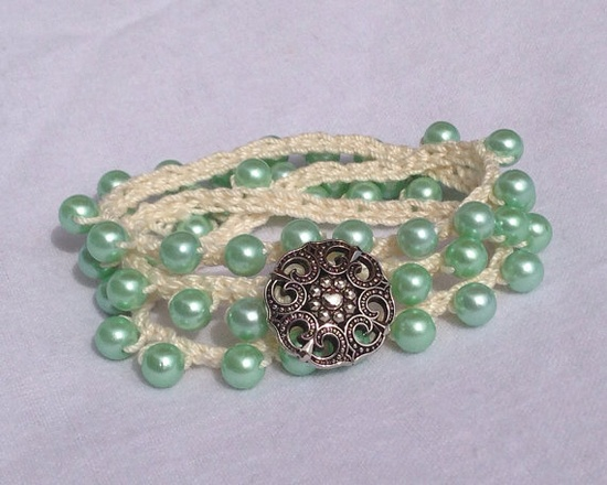 Crochet wrap bracelet with mint green faux pearls and silver button on  How To Crochet Infinity Twist Wrap