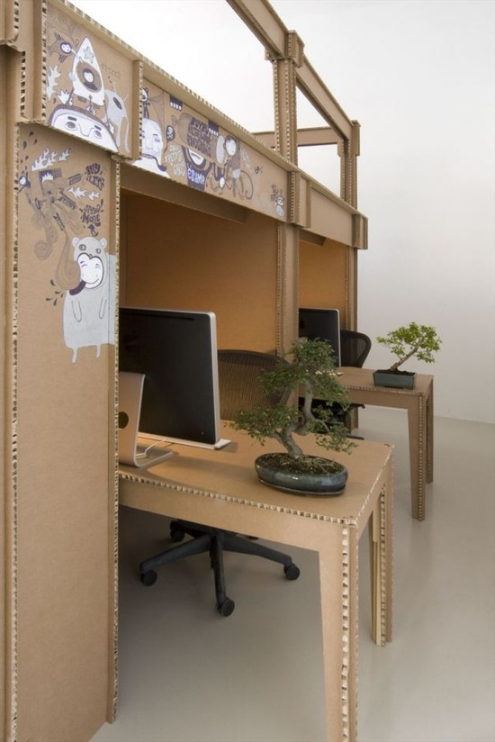 Office & Workspace, 17 Inspiring Fantastic Advertising Agency Interior Office Designs: Exciting Cardboard Office Table And Bulkhead With IMac Computer And Green Bonsai Plant