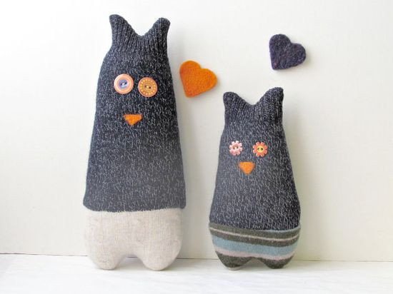 Owls mom and son- Soft and cuddling plushies made with faboulous reclaimed sweaters.
