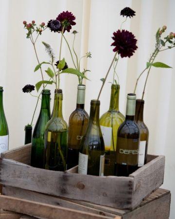 Wine bottle flower vessels