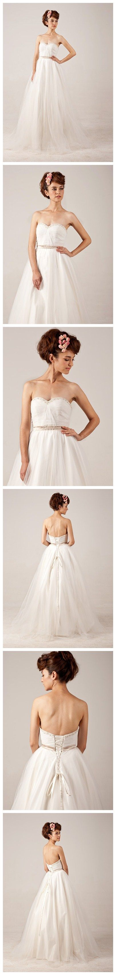 Lace-up Ball Grown Beading Strapless Tulle Wedding Dress. LOVE THIS