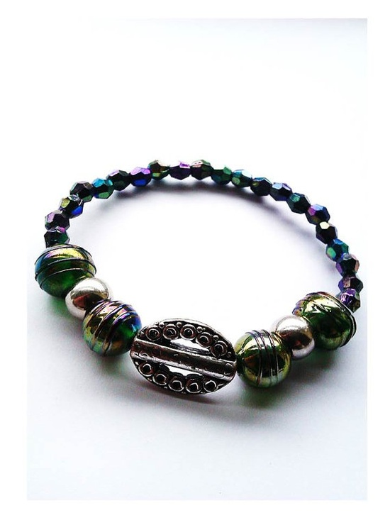 Green-Purple-Blue Luminous Stretch Bracelet - £15.00