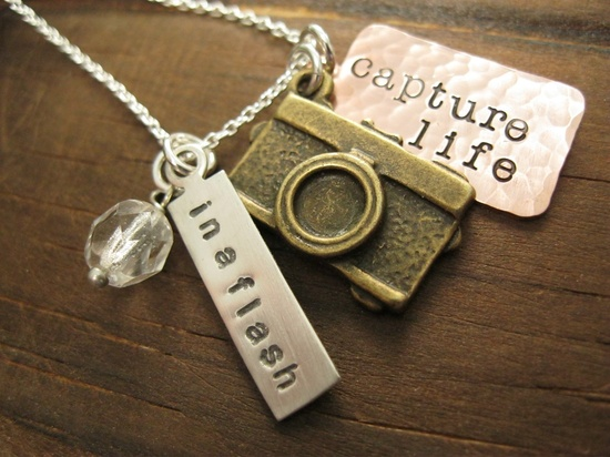 Photographer Inspired Personalized Hand Stamped Mixed Metal  Necklace In a Flash.