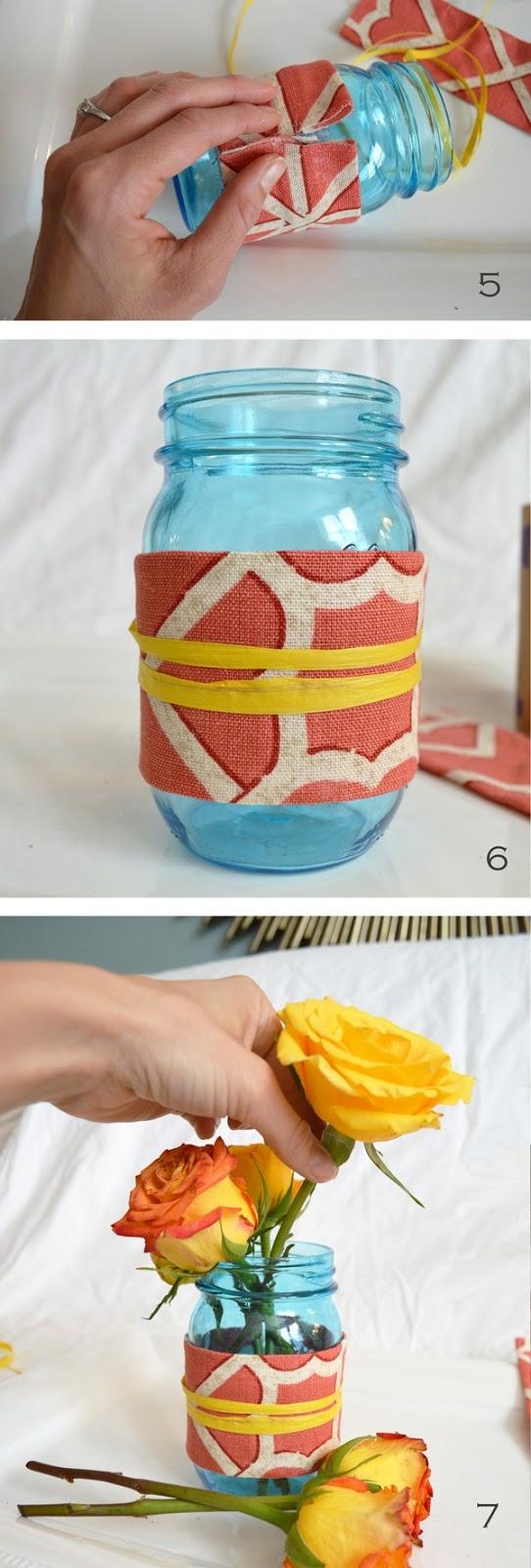 fabric wrapped mason jars