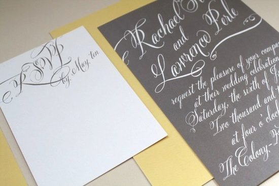 #gray and #yellow wedding #invitation by Page Stationery