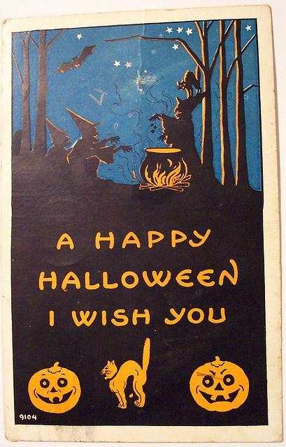 Vintage Halloween postcard. #Halloween #party