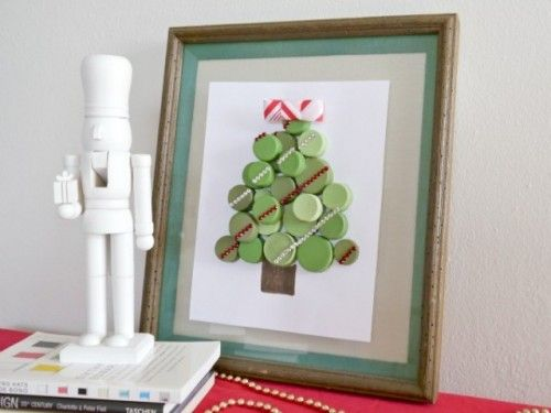 great ideas - DIY bottle cap Christmas Tree - easy decorating idea
