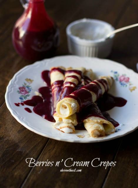 Marionberry Strawberry Syrup served over the most delicious cream filled crepes. #Breakfast at our house is amazingly delicious ohsweetbasil