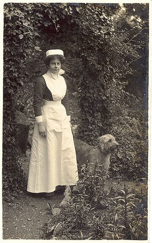 WWI British Nurse and dog