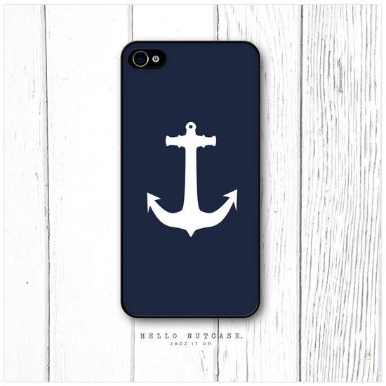 iPhone 4 and 4S case Navy Anchor