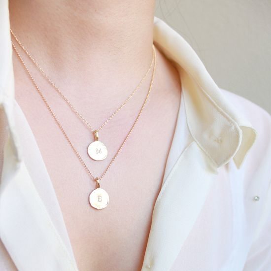 Multi Strand Initial Necklace - personalized gold charms on layered 14k goldfill chain, vanilla dots. $50.00, via Etsy.