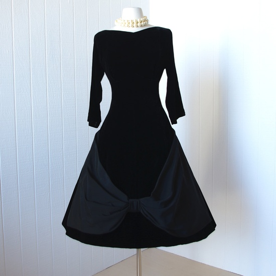 vintage 1950's dress ...classic CLAUDIA YOUNG jet black velvet with huge grosgrain wrapped bow full skirt pin-up cocktail dress