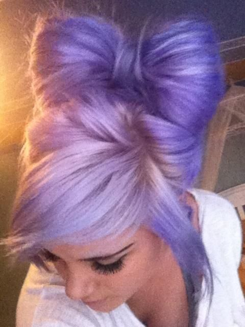purple hair into bow