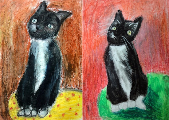 Pet portraits, oil pastel, from pics; 3rd, 4th