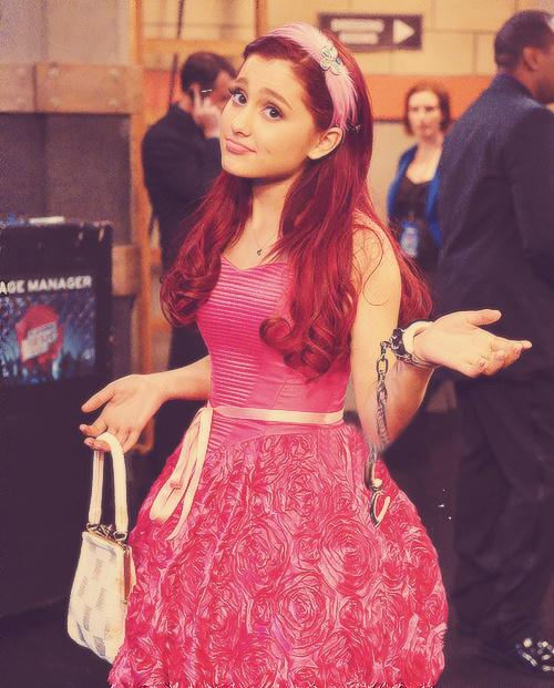 Ariana Grande pink dress and headband.