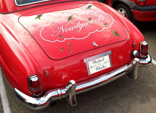 Custome Car Decals by SpotMyStuff on Etsy, $33.00 #car #decal #sticker #wedding #newlyweds