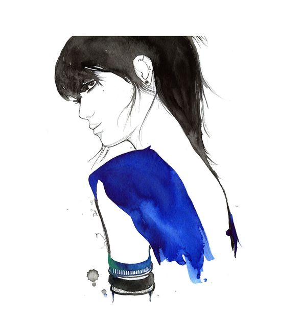 Watercolor Fashion Illustration - The Girl with No Tattoos print. $25.00, via Etsy.