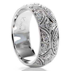 Vintage style wedding band, engagement band, right hand band...... Wow! If I had 4k to spend on this, I would love it!