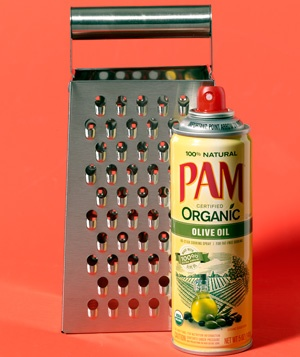 Cooking spray as grater helper
