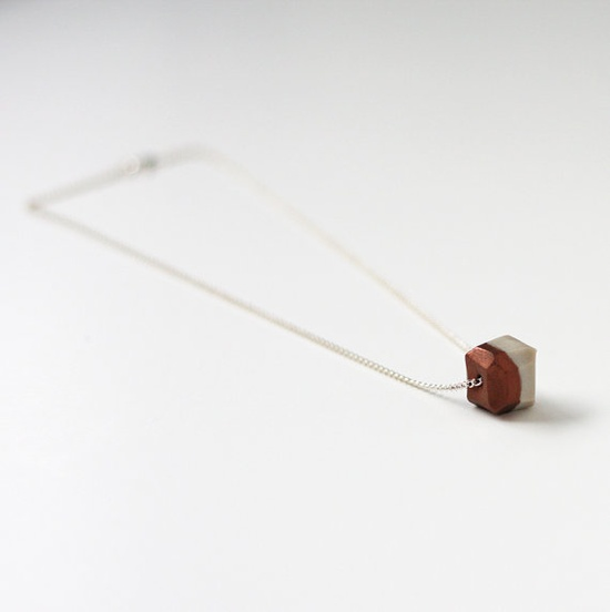copper dipped geo necklace #necklace #silver #copper #etsy #ammjewelry