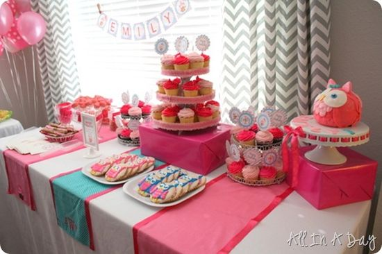 Pink Owl First Birthday