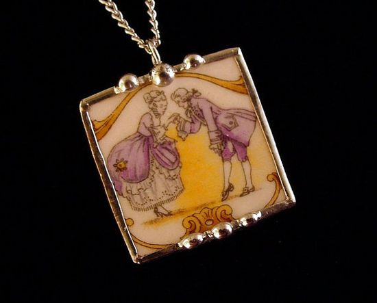 Antique Colonial Courting Couple broken china necklace pendant