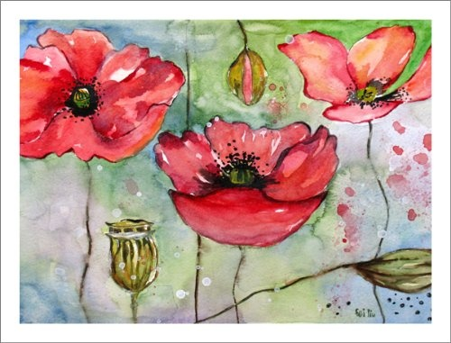 Poppy Art Prints Watercolor Artwork Pink and Red Poppies Paintings $22.00