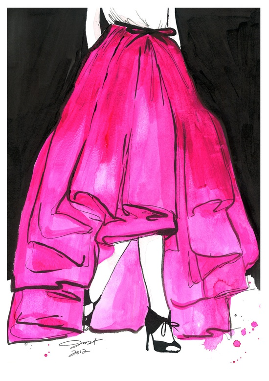 Original watercolor and pen fashion illustration by Jessica Durrant titled Wu Does Pink