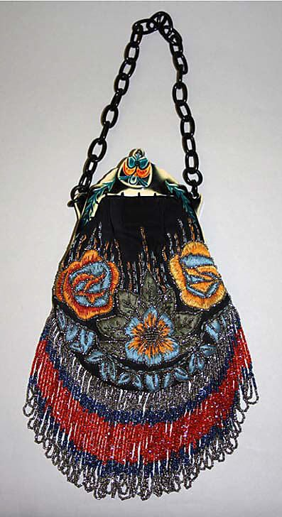 "Purse: late 1920's, American, silk/plastic/glass/metal. Marking: [stamped on frame] ""Hiawatha"""
