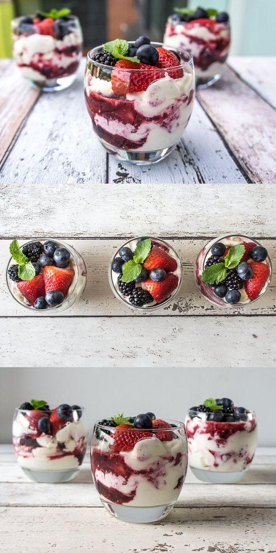 Yogurt Berry Parfait by dailygourmet: A little bit of cream goes a long way! #Parfait #Berry #Yogurt