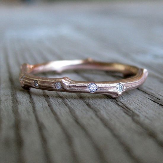 Rose Gold Scattered Diamond Twig Wedding Band by kristincoffin, $620.00
